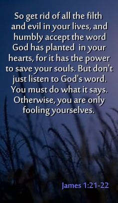 Amazing... just what gifts we receive, what advice for us to follow, what knowledge is so freely given to us, all from reading The Book! I usually read KJV, but the simplicity in this translation is awesome ♥... JAMES 1:21-22 NLT