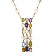 Bvlgari COLOR 18K Yellow Gold 3 Row Long Gemstone Pendant Necklace