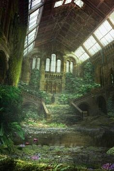 architecture decay ruins abandoned buildings places-but becomes sacred spaces to Mother Nature Abandoned Buildings, Abandoned Mansions, Old Buildings, Abandoned Places, Abandoned Castles, Haunted Places, Abandoned Library, Ancient Buildings, Belle Photo