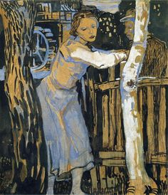 "amare-habeo: "" Oskar Kokoschka (Austrian, 1886-1980) Woman at a birch, N/D Watercolor on paper """