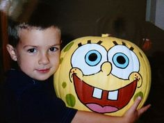 I have been gathering ideas for Halloween & I found this picture of my oldest son. This was his beloved Spongebob pumpkin that I painted fo. Spongebob Pumpkin, Spongebob Crafts, Spongebob Halloween, Cute Halloween, Holidays Halloween, Halloween Pumpkins, Halloween Crafts, Halloween Decorations, Halloween Ideas