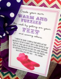 Hand out Create your own warm and fuzzy feeling by getting on your feet...