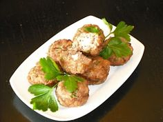 Authentic Greek Recipes: Greek Keftedakia (Meatballs) With Feta Cheese Stuffing And Ouzo