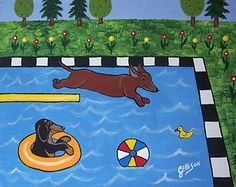 DIVING DACHSHUND Swimming POOL Doxie Weiner Hot DOG Art Original Painting ELLISON