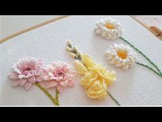 [프랑스자수] 파스텔 꽃 입체자수 Pastel Flowers Embroidery - YouTube Hand Embroidery Design Patterns, Hand Embroidery Videos, Embroidery Stitches Tutorial, Embroidery On Clothes, Embroidery Flowers Pattern, Crewel Embroidery, Embroidery Kits, Brazilian Embroidery, Cross Stitch