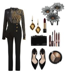 """""""black and gold"""" by lizbeth-fuentes-rivera-ramirez ❤ liked on Polyvore featuring sass & bide, Roberto Cavalli, Zara, Alexandre Vauthier and Chico's"""