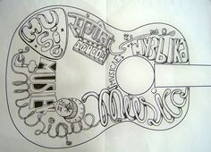 The tattoo of my acoustic guitar. This illustration is the word music translated into several languages