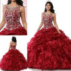Vintage Ball Gowns Wine Red Sweet 16 15 Girls Quinceanera Dresses Keyhole Back Jewel Beading Ruffles Organza Lace Up 2016 Debutantes Wear