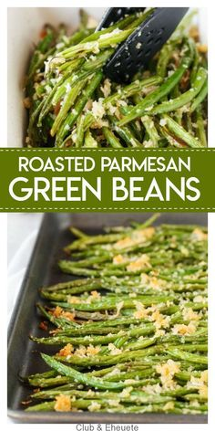 Roasted Parmesan Green Beans- delicious fresh green beans are roasted with a cru. Roasted Parmesan Green Beans- delicious fresh green beans are roasted with a crunchy mixture of par Veggie Dishes, Food Dishes, Vegetarian Side Dishes, Christmas Vegetable Dishes, Healthy Vegetable Side Dishes, Green Vegetable Recipes, Vegetable Snacks, Roasted Vegetable Recipes, Christmas Dishes