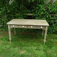 Rustic Grey Hand Painted Antique Victorian Pine Writing Desk Table Two Drawers Handmade