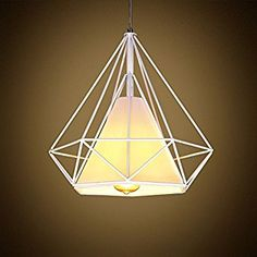 WINSOON 1PC 15.7X15.7 Inch VINTAGE RETRO INDUSTRIAL LOFT METAL CEILING CAGE LIGHT PENDANT LAMP SHADE (White) - - Amazon.com