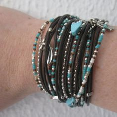 Triple Leather Wrap Bracelet with Silver Accents and Turquoise, Brown and Silver Glass Beads on Etsy, $38.00
