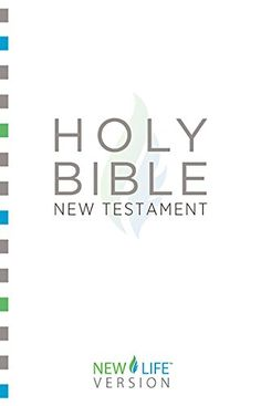 "Holy Bible - New Testament: New Life VersionTM (New Life Bible) by Barbour Bibles http://www.amazon.com/dp/B00OVK8070/ref=cm_sw_r_pi_dp_0th-vb0AJQEBW - This unique scripture version, originally designed to reach people who did not speak English as their native language, uses a limited vocabulary of 850 words to simply and clearly share God's truth. For example, the term ""justified"" is rendered ""made right with God,"" and ""blaspheme"" is rendered ""speak against God.""  Ideal for seekers, new…"