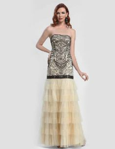 Sue Wong Formal Strapless Beaded Bodice Motif Gown