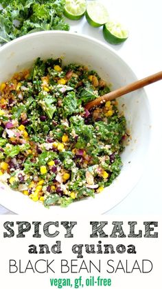 Spicy Kale and Quinoa Black Bean Salad &; vegan gluten free and oil-free. Crunchy savory spicy and&; Spicy Kale and Quinoa Black Bean Salad &; vegan gluten free and oil-free. Crunchy savory spicy and&; Tri Tip Grill […] soup cleanses whole foods Quinoa Salat, Kale Quinoa Salad, Bean Salad Vegan, Vegetarian Quinoa Salad, Kale Salads, Quinoa Rice, Whole Food Recipes, Cooking Recipes, Mushrooms