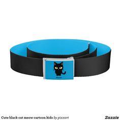 Cute black cat meow cartoon kids belt