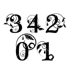 Floral font numbers. Table numbers