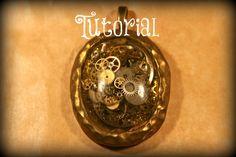 Steampunk Resin Pendant with Real Clock Parts | Velvetorium