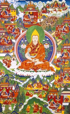 """in Picture 11, Je Rinpoche, is successful in revitalizing monastic practices, the Vinaya is once again made pure by Lama Tsongkhapa. Here also Lama Tsongkhapa chooses Gyeltsabje  as his successor.    Lama Tsongkapa has a vision of all the Masters of the Lamrim tradition, from the Buddha to his actual Master. Lord Atisha then places his hand upon Tsongkapa's head, saying, """"Work for the good of the teaching; I will help you to achieve enlightenment, and to serve all living"""