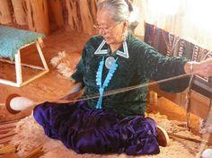 Navajo elder spinning wool.