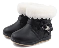 iDuoDuo Girls Princess Furry Lace Ankle Boot Cute Bow Waterproof Warm Plush Party Winter Boots Black 9.5 M US Toddler. Girls ankle boots with side zipper closure, easy to pull on or off by themselves. Featuring waterproof leather material with classic reinforced contrast stitching design. A lovely bowknot stitched one side, soft and smooth furry cuff with cute lace decoration. Warm lambswool fur lining, comfortable, and bring kids better wearing experience during cold days. Natural…