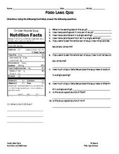 worksheets for reading food labels with answer key. this would be ...
