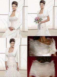 White and ivory satin Multi-style jacket Wedding Bridal Bolero shrug coat New