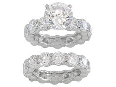 Charles Winston For Bella Luce (R) 28.00ctw Rhodium Plated Sterling Silver Ring And Band
