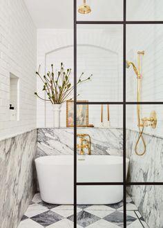 Sarah Sherman Samuel: Soho Loft Soho Loft, Brick Bathroom, Loft Bathroom, Master Bathroom, Bathroom Interior, Modern Bathroom, Master Baths, Basement Bathroom, Washroom