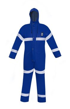 WATERPROOF OVERALL WITH REFLECTIVE TAPES Model: 104/R The overall is fastened with hidden zip under a storm flap with a hood, sleeves and legs with windstoppers. It  has reflective tapes on body, sleeves and legs to make workers more visible during the work. The product is made of PVC/polyester fabric, called Plavitex. Thanks to double welded high frequency seams the product protects against rain and wind. The product conforms with the EN ISO 13688 and EN 343 standards.