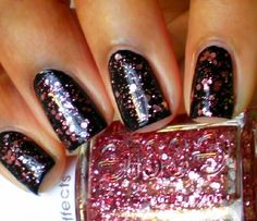 Essie A Cut Above layered over a black polish.....stunning!