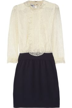 Cream lace, navy silk-crepe Ruffled neckline, placket and cuffs, gathered waist, lined through body and skirt Hook-fastening keyhole at back, zip fastening at side Fabric1: 70% cotton, 30% polyamide; fabric2: 100% silk; lining: 85% rayon, 15% spandex Dry clean