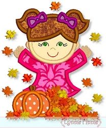 Fall Leaves Girl Applique - 4 Sizes!   Fall   Machine Embroidery Designs   SWAKembroidery.com Lynnie Pinnie