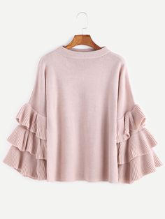 Shop Pink Layered Ruffle Sleeve Pullover Sweater online. SheIn offers Pink Layered Ruffle Sleeve Pullover Sweater & more to fit your fashionable needs.