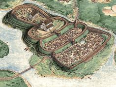 Z pola walki: Gród Mieszka I/ Burg city of Mieszko I Fantasy City Map, Fantasy Castle, Fantasy Places, Medieval Life, Medieval Castle, Medieval Fantasy, Environment Concept Art, Historical Architecture, Fantasy Landscape