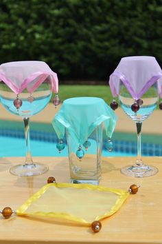 Wine Glass Covers Spring Bouquet Sheer with Satin by AczarsDesign,