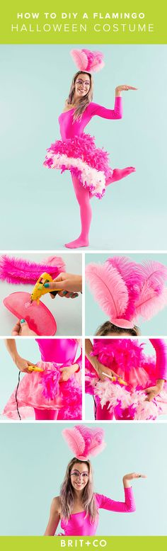 DIY a quick and easy flamingo costume for Halloween in just 3 steps! 1. Spray paint hat fascinator pink + hot glue on feathers. 2. Cut skirt hoop in a high-low shape + spray paint pink. 3. Put on tights, leotard + skirt hoop and hot glue feather boas to your skirt base.