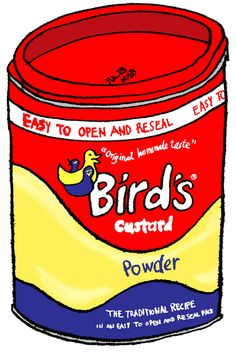 https://flic.kr/p/53XtyK   Bird's Custard   Mr. Alfred Bird invented this eggless version in 1837 for Mrs. Bird, who was allergic. The company was one of the early users of promotional items and colourful advertising campaigns. The famous 'three bird' logo, however, was relatively late in arriving, and only introduced in 1929. Bird's was purchased by the General Foods Corporation, which was itself taken over by Philip Morris in the 1980s and merged into Kraft Foods. Although the Bird's…