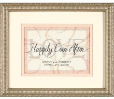 Dimensions Happily Ever After Wedding Record - Cross Stitch Kit. Complete kit includes cotton thread, metallic thread, 14 count Ivory Aida, needle, and easy to