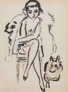 Kees Van Dongen ( Dutch: 1877 - 1968 ), Jeune femme au chien, 1925. Lithograph, 25,2 x 16cm