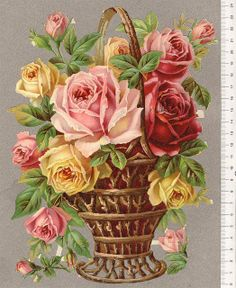 Victorian Die Cut Scraps: Large Rose Basket Broken connection and crease to edge otherwise good condition. Victorian Flowers, Vintage Flowers, Vintage Floral, Art Floral, Vintage Cards, Vintage Postcards, Vintage Rosen, Illustration Blume, Paintings