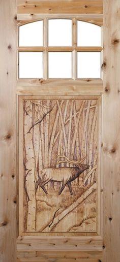 Model TVM-1565--C8, hand-carved wood panel door w/ Bull Elk - Cabin Life Magazine