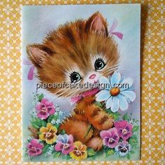 Vintage Cat With Flowers Birthday  Edible by PieceOCakeDesigns, $8.98