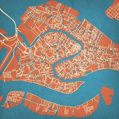 Tider Venice Map Print now featured on Fab. They have a bunch of other cities too - we could do one of these for the shelf with the maps? Venice Italy Map, Venice City, Rome Florence, Map Quilt, Map Painting, Map Design, Graphic Design, Illustrations, City Maps