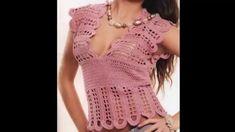 Blusa Rosa Palo Motivos Calados a Crochet