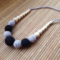 Collar porteo y lactancia negro-gris - nursing necklace - breastfeeding necklace - teething necklace