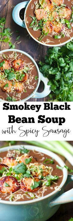 This five ingredient Smokey Black Bean Soup with Spicy Sausage is a simple hearty dish perfect for busy weeknights!