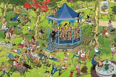 The Bandstand (Het Muziekpaviljoen)/Concert in the Park - Jan van Haasteren puzzels Wallpaper Downloads, Pattern Wallpaper, Cool Wallpaper, Iphone Wallpaper, Desktop Wallpapers, Best Jigsaw, Picture Writing Prompts, Space Crafts, Illustrations And Posters