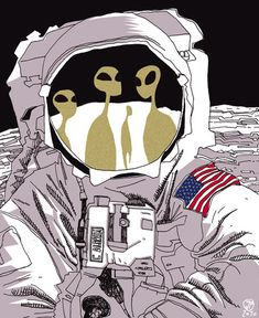 'Astronaut And Aliens' Photographic Print by Art Alien, Tableau Pop Art, Buzz Aldrin, Aliens And Ufos, Cultura Pop, Sci Fi Art, Cool Drawings, Art Inspo, Collages