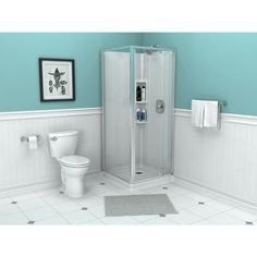 OVE Decors Savannah Brushed Nickel Floor Rectangle Corner Shower ...